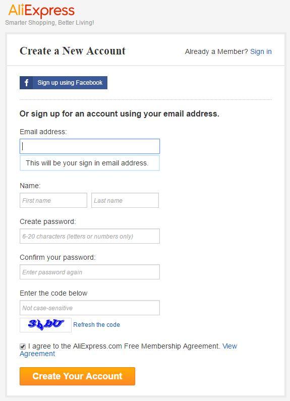 регистрация в Алиекспрес